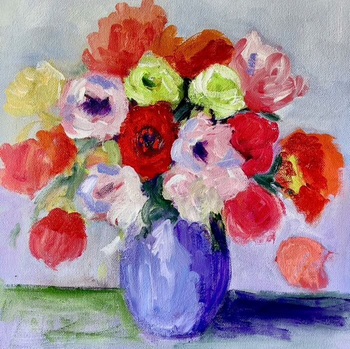 Flowers in Blue Vase Round 1 painting by Kathy Miller