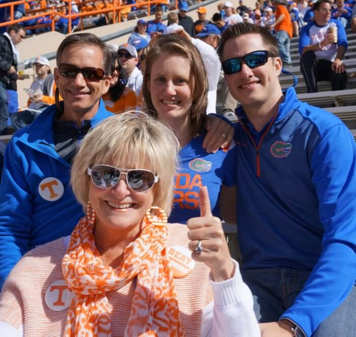 Kathy, Dave, Lizzy and James at Gator/Tennessee game photo by Kathy Miller