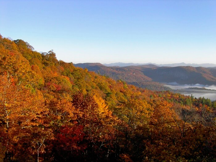 Fall colors from Camp Chimney photo by Kathy Miller