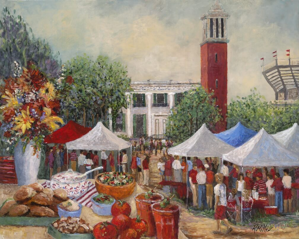 University of Alabama, Tailgating On The Quad painting by Kathy Miller