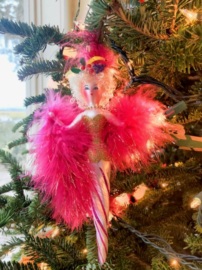 Carmen Miranda ornament with fruit and boa photo by Kathy Miller