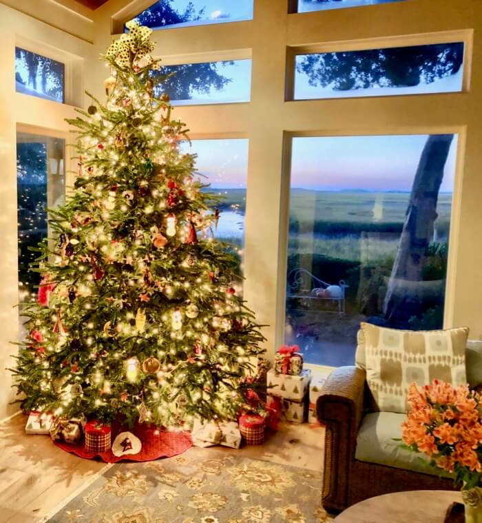 Christmas tree with sunrise view photo by Kathy Miller