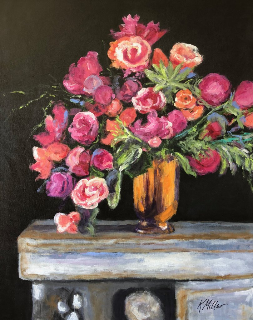 Anemones, Begonias and Peonies in Brass Vessel painting by Kathy Miller, inspired by Lewis Miller floral design