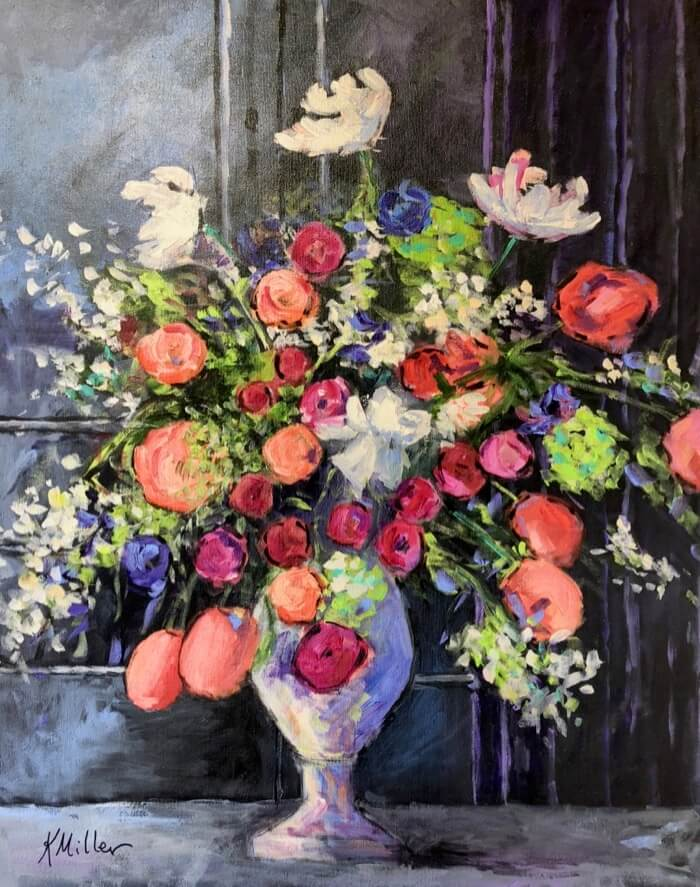 """Flower Drama"" ala Dutch Still Life original painting by Kathy Miller"