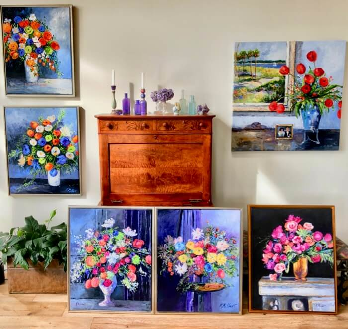 Flowers Gallery Wall ala Dutch Still-life original painting by Kathy Miller