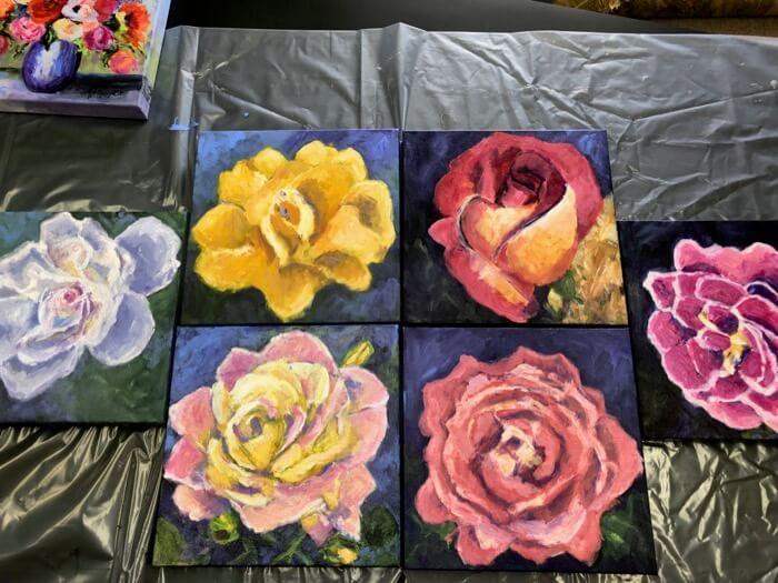Carol Ann's Roses in studio paintings by Kathy Miller