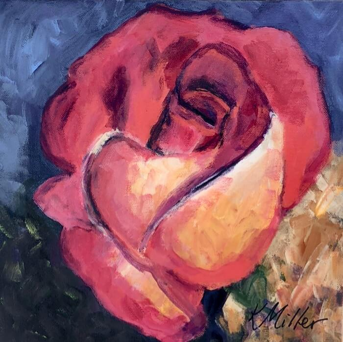 Coral and yellow rose painting by Kathy Miller