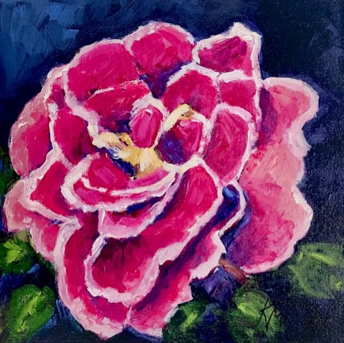 Hot Pink and White rose painting by Kathy Miller