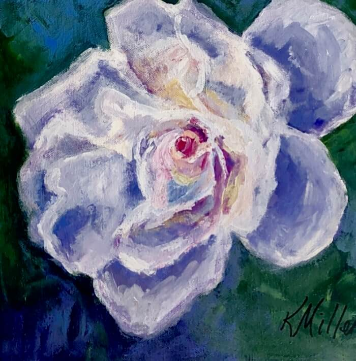 White Rose painting by Kathy Miller