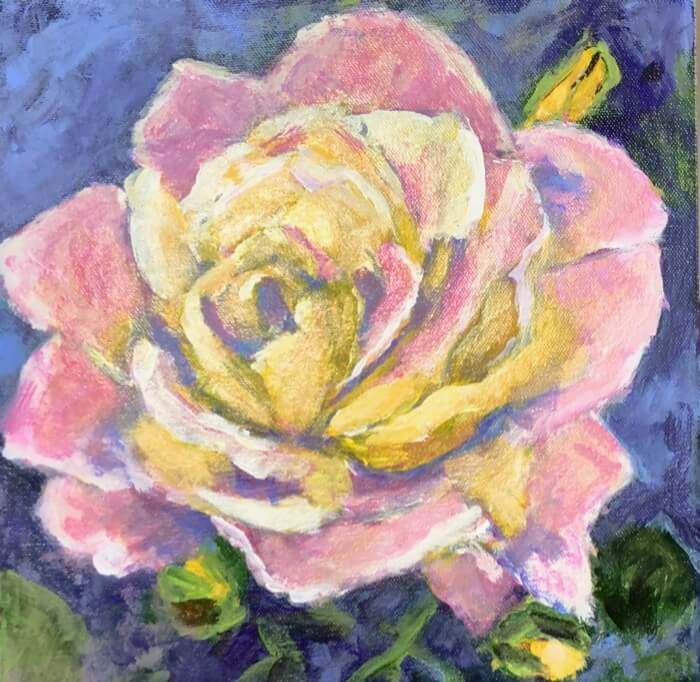Pale Pink and Yellow rose painting by Kathy Miller