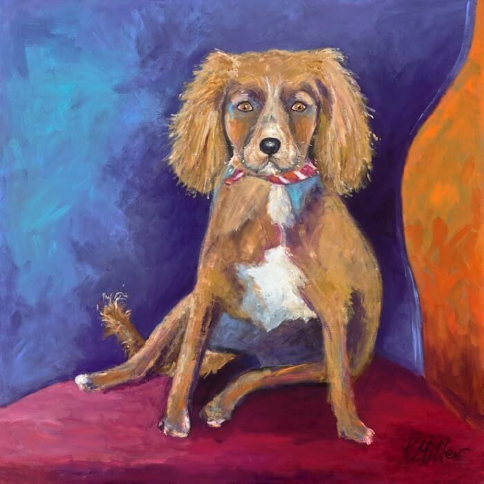 "London 36""x36"" custom pet portrait by Kathy Miller"