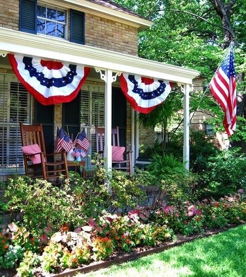Red white and blue bunting on porch