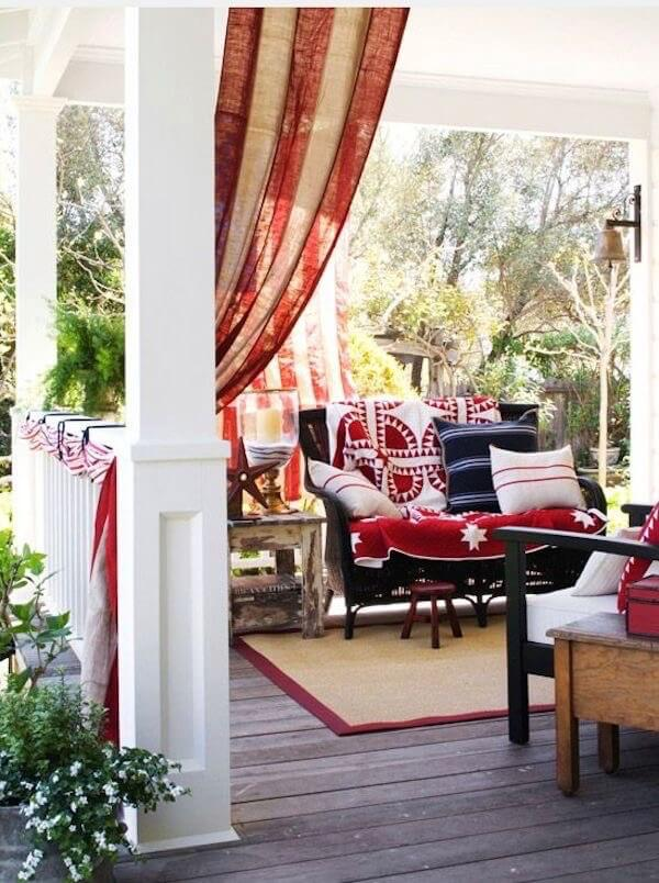 Red, white and blue porch