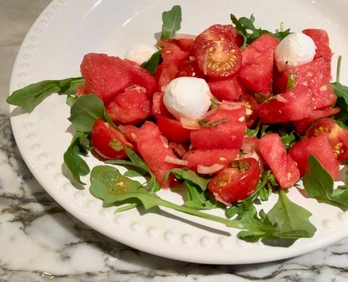 Watermelon Tomato Salad with Mozzarella Balls