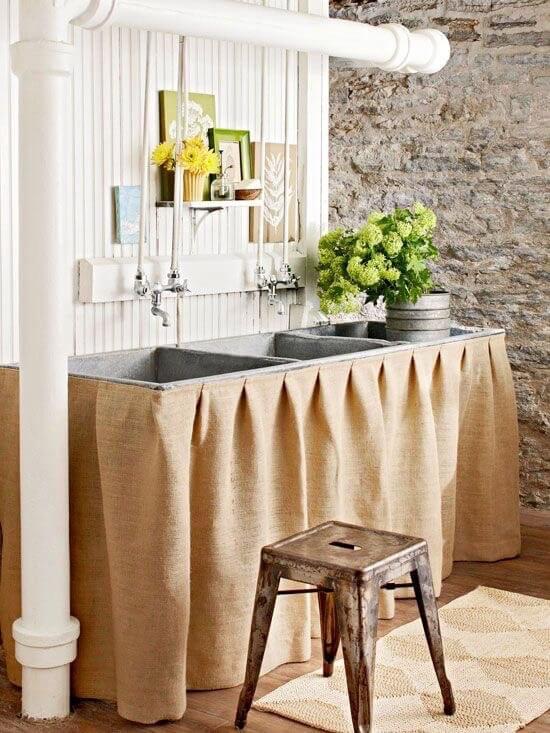 Burlap beauty skirted sink