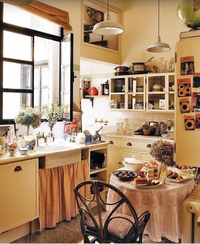 Carolina Herrera kitchen with skirted sink
