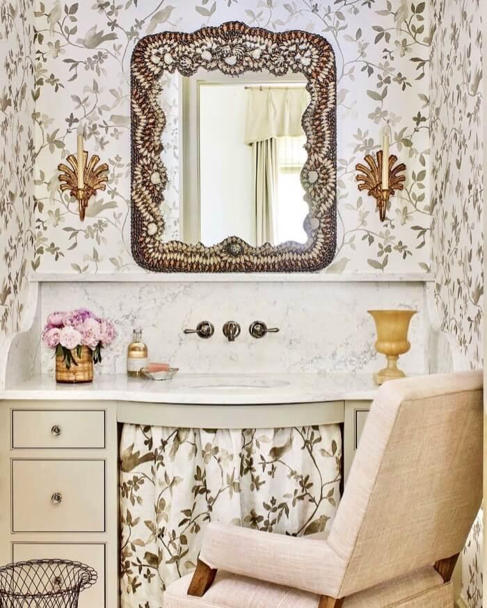 Skirted sink Heather Chadduck Southen Living Idea House guest bath