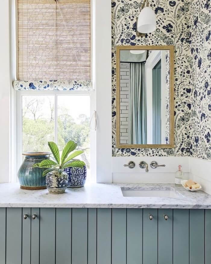 Guest bath with bamboo blinds with matching fabric lining