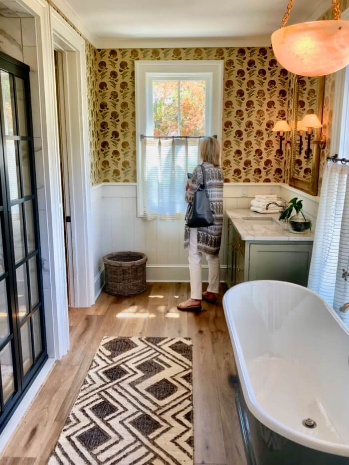 Master bath with gridded shower door and cafe curtains Southern Living 2019 Idea House