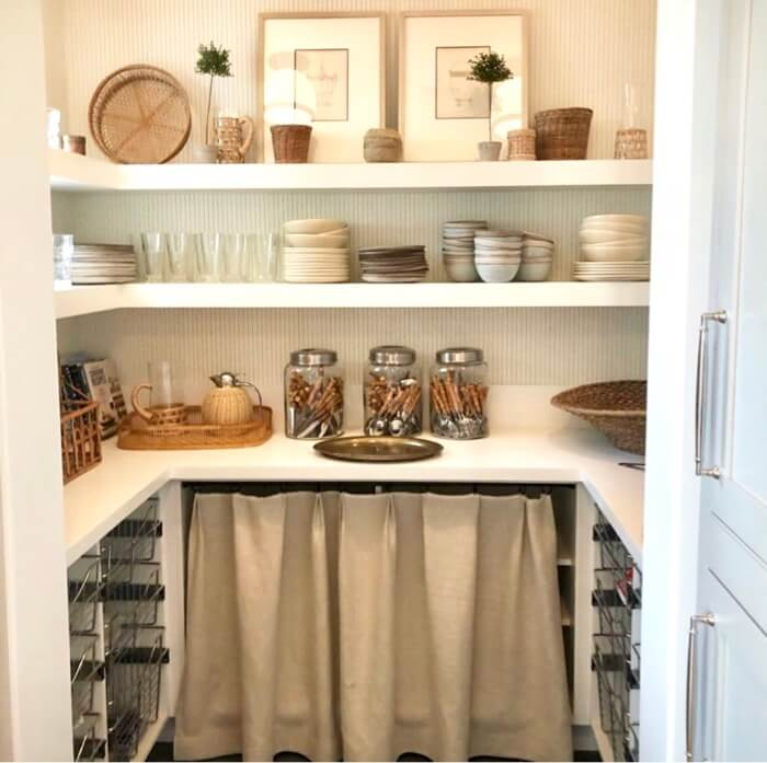 Pantry with linen skirt to cover under counter items Southern Living 2019 Idea House