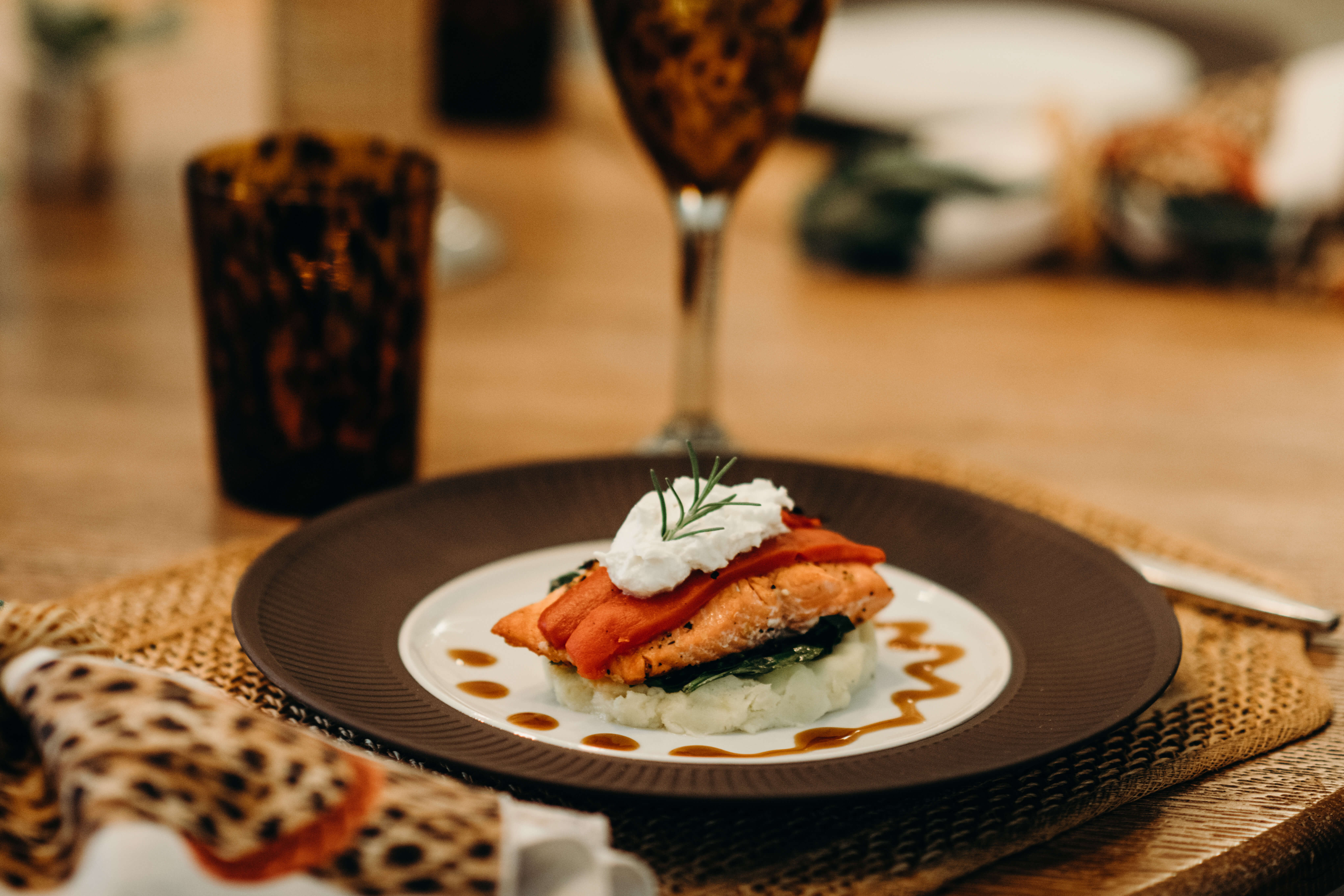 Salmon Stack with Roasted Red Peppers, Goat Cheese and Wasabi Mashed Potatoes photo by Page Teahan