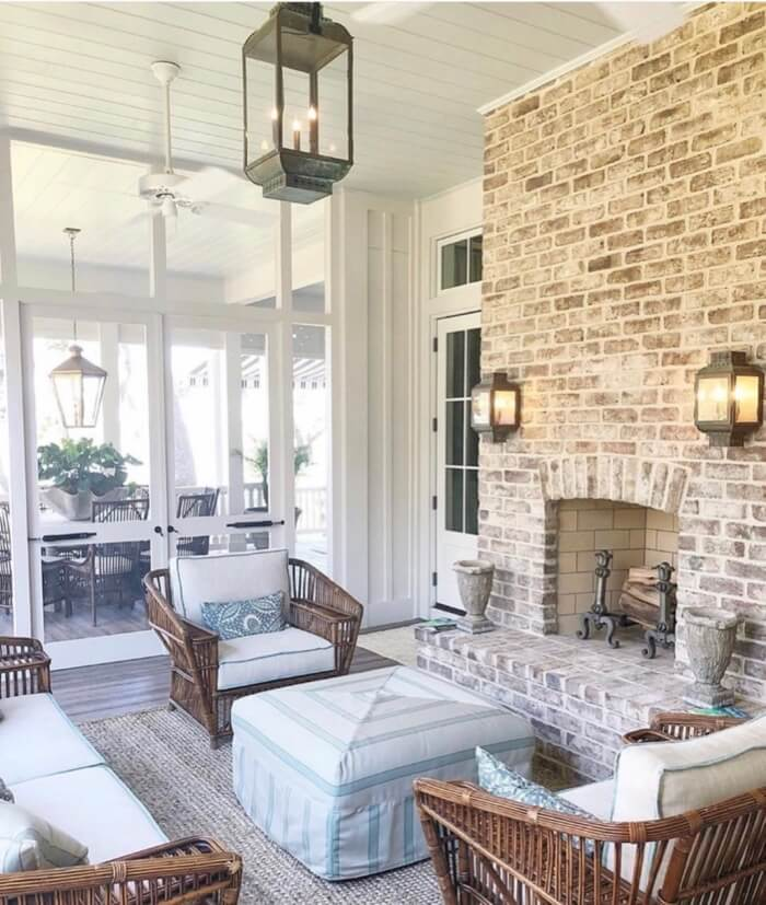 Screened porch with fireplace Southern Living 2019 Idea House