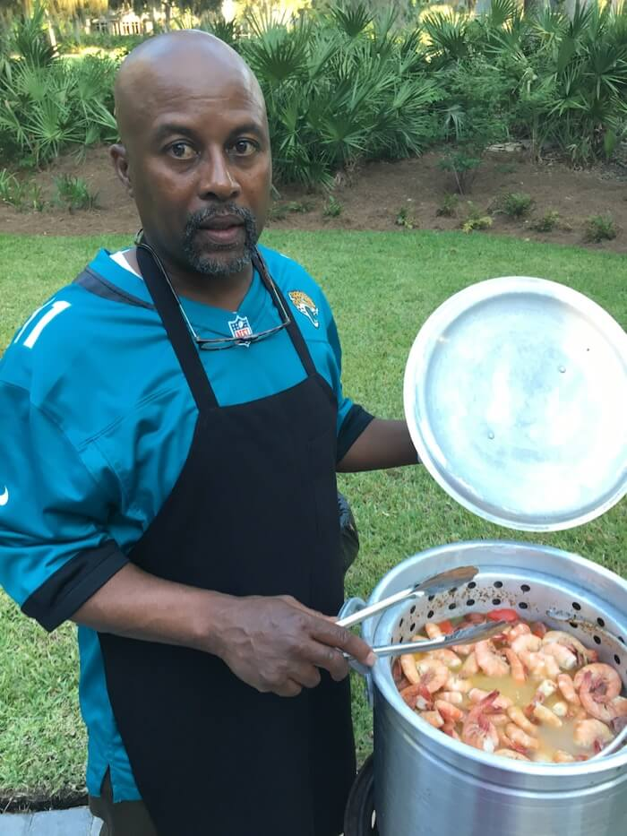 Tyrone and a low country boil photo by John Hopkins