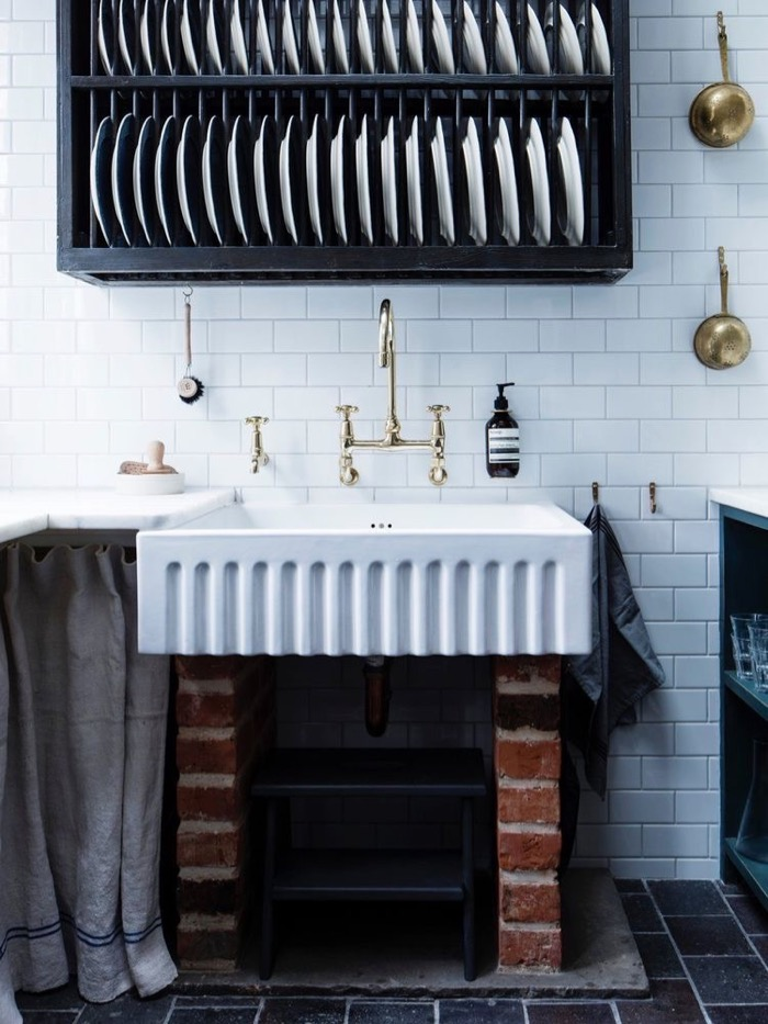 Was that an old stove fireplace next to skirt sink?