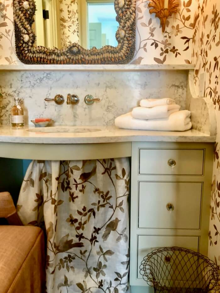 Skirted sink in guest bath