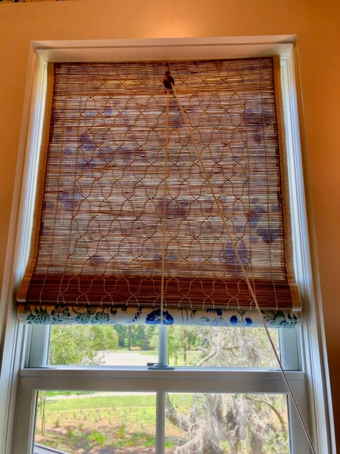 woven blind with fabric on reverse guest bath