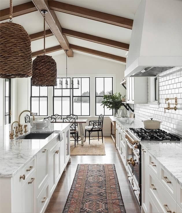 wicker pendants in the kitchen