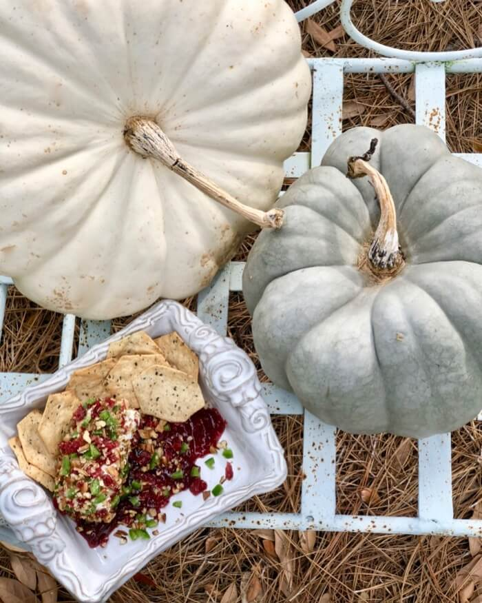 Cranberry and Pecan Goat Cheese Spread with fall heirloom pumpkins photo by Kathy Miller