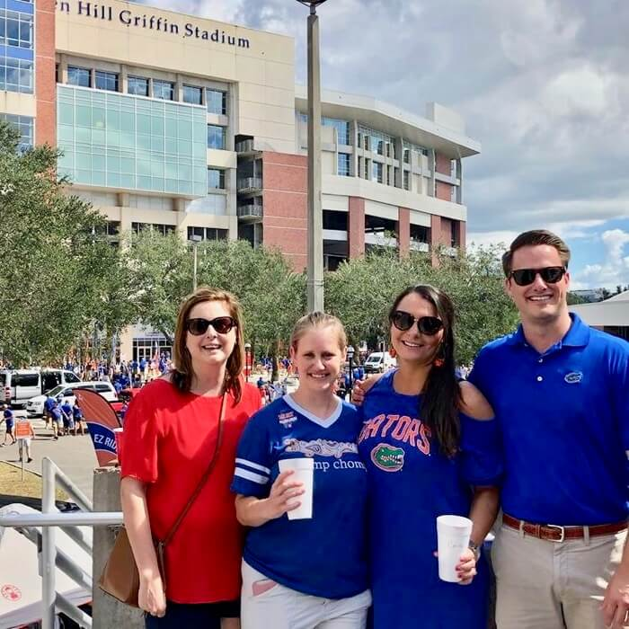 Fl/Auburn game day with Kari, Lizzy, Carrie and James