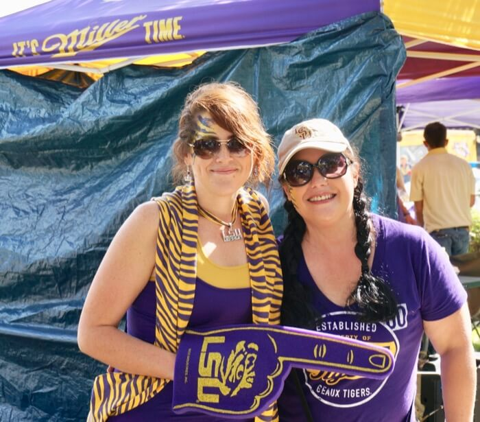 LSU buddies outside the Miller Time tent photo by Kathy Miller
