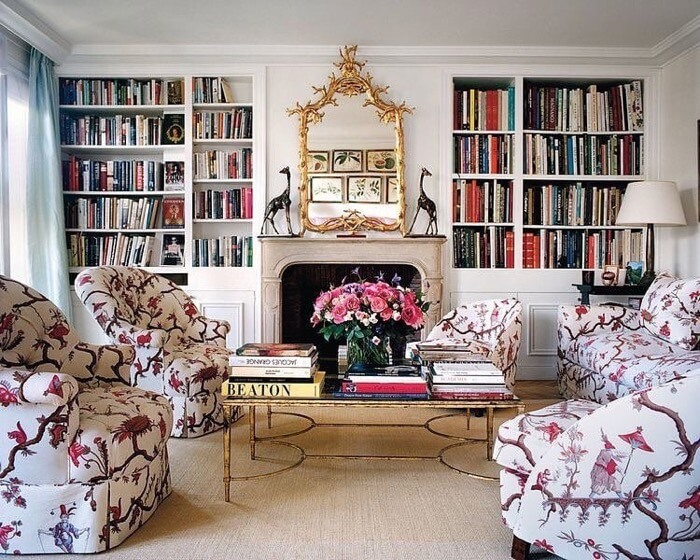 Lee Radziwill Paris apartment with botanicals in mirror reflection