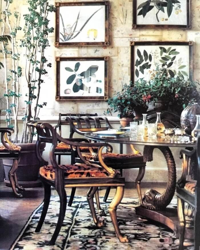 Lee Radziwill Park Avenue penthouse with same botanical prints from Paris apartment