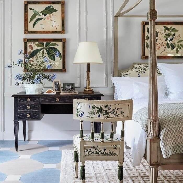 Lee Radziwill botanical prints in New York bedroom
