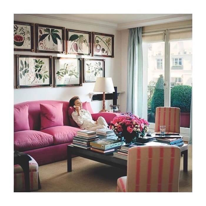 Radziwill-in-her-Paris-apartment-with-botanical-prints
