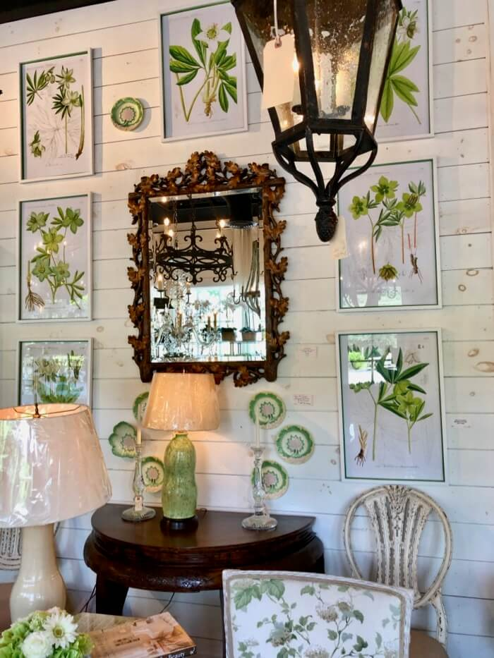 Vibrant Hellebore prints at Toby West Antiques in Cashiers, NC