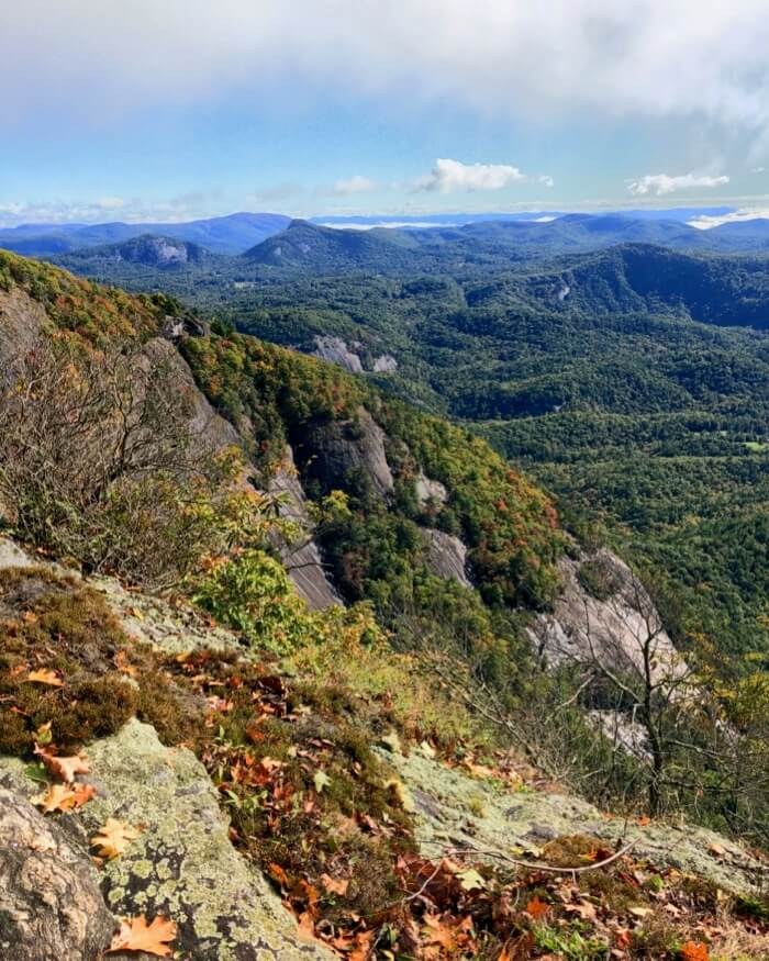 View to Chimney Top, Rock Mountain into Panthertown and the Blue Ridge in the far distance photo by Kathy Miller
