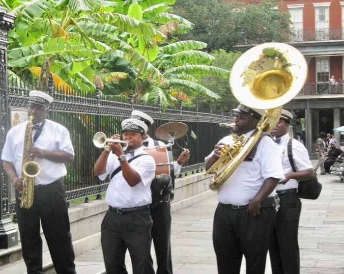 Jazz brass band on Lafayette Square in New Orleans photo by Kathy Miller