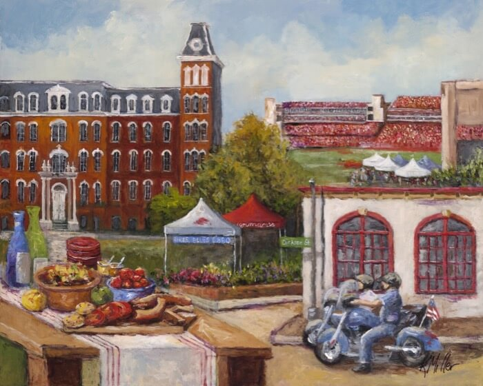 UNIVERSITY OF ARKANSAS, TAILGATING IN THE OZARKS PAINTING BY KATHY MILLER