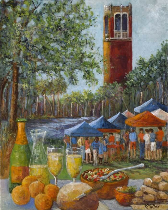 UNIVERSITY OF FLORIDA, TAILGATING IN THE SWAMP PAINTING BY KATHY MILLER