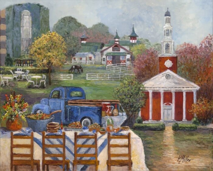 UNIVERSITY OF KENTUCKY, TAILGATING IN KENTUCKY BLUE GRASS COUNTRY PAINTING BY KATHY MILLER