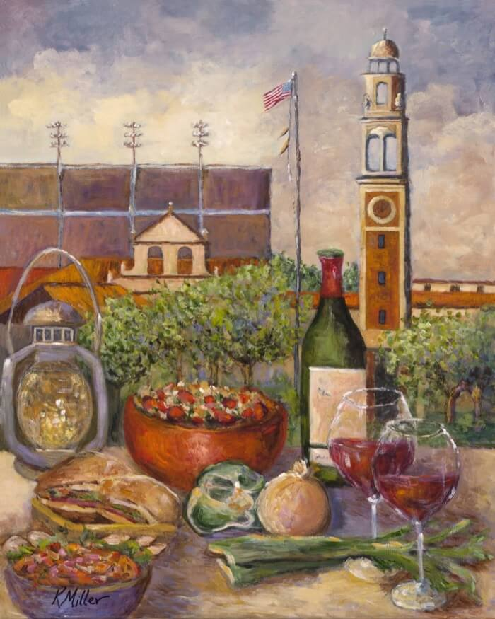 LSU, TAILGATING ON THE BAYOU PAINTING BY KATHY MILLER