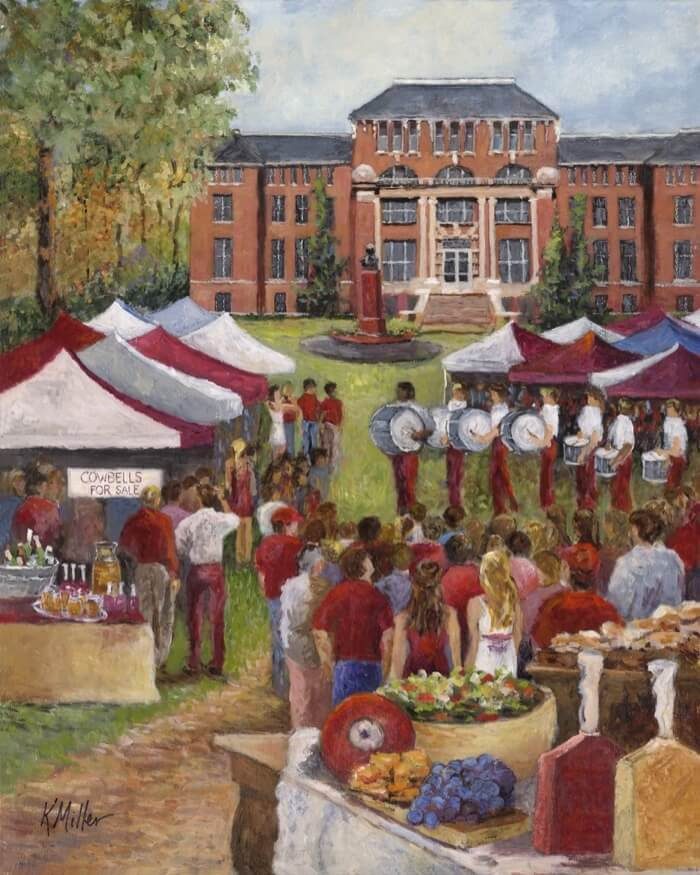 MISSISSIPPI STATE, TAILGATING IN THE JUNCTION PAINTING BY KATHY MILLER