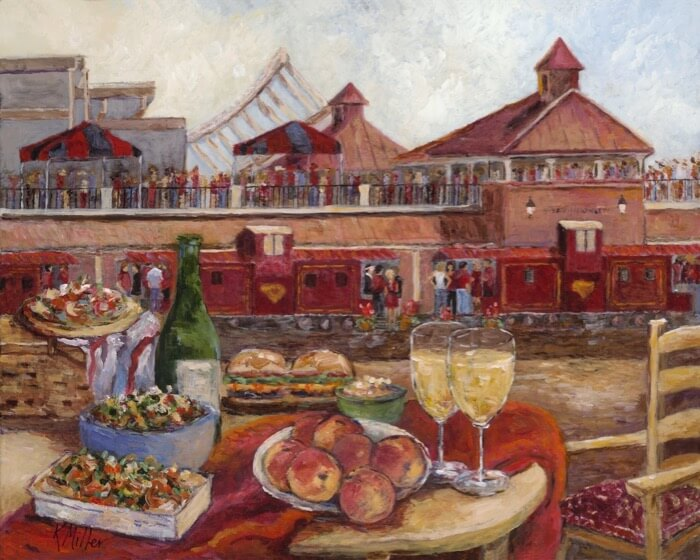 UNIVERSITY OF SOUTH CAROLINA- TAILGATING WITH THE COCKABOO RAILROAD PAINTING BY KATHY MILLER