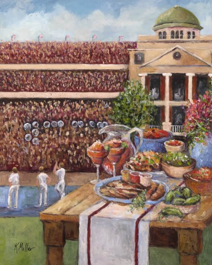 TEXAS A&M- TAILGATING IN AGGIELAND PAINTING BY KATHY MILLER