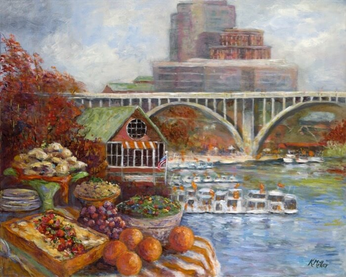 UNIVERSITY OF TENNESSEE, TAILGATING WITH THE VOL NAVY PAINTING BY KATHY MILLER