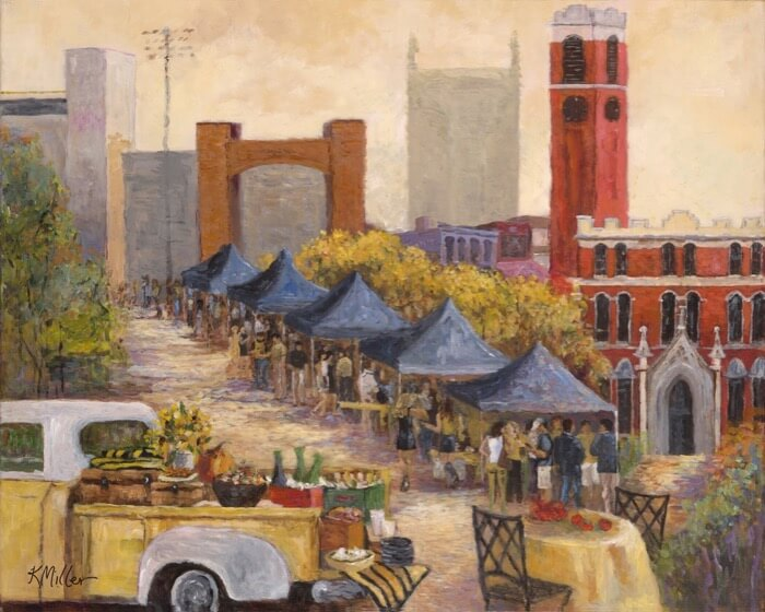 Vanderbilt University, Tailgating In Vandyville painting by Kathy Miller